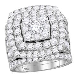 5.95 CTW Diamond Bridal Wedding Engagement Ring 14KT White Gold - REF-607X4Y