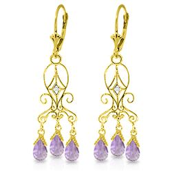Genuine 4.81 ctw Amethyst & Diamond Earrings Jewelry 14KT Yellow Gold - REF-46K7V
