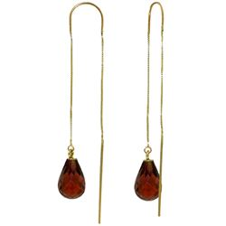 Genuine 4.5 ctw Garnet Earrings Jewelry 14KT Yellow Gold - REF-20Y4F