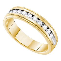 0.50 CTW Diamond Single Row Wedding Ring 14KT Yellow Gold - REF-75X2Y