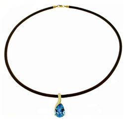 Genuine 4.7 ctw Blue Topaz Necklace Jewelry 14KT White Gold - REF-32R3P