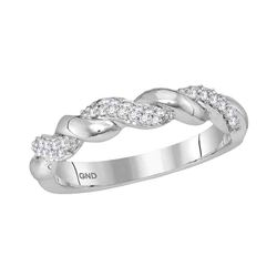 0.17 CTW Diamond Stackable Ring 10KT White Gold - REF-32H9M