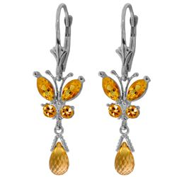 Genuine 2.74 ctw Citrine Earrings Jewelry 14KT White Gold - REF-42H6X