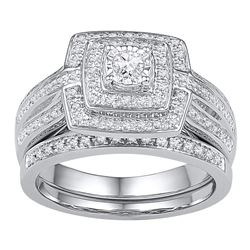 0.33 CTW Diamond Bridal Wedding Engagement Ring 10KT White Gold - REF-49F5N
