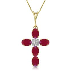Genuine 1.75 ctw Ruby & Diamond Necklace Jewelry 14KT Yellow Gold - REF-44W4Y