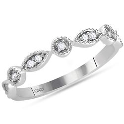 0.10 CTW Diamond Stackable Ring 14KT White Gold - REF-22X4Y