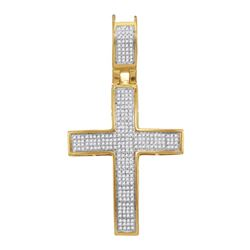0.46 CTW Mens Diamond Symmetrical Cross Charm Pendant 10KT Yellow Gold - REF-44K9W