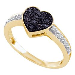 0.34 CTW Black Color Diamond Heart Cluster Ring 10KT Yellow Gold - REF-25Y4X