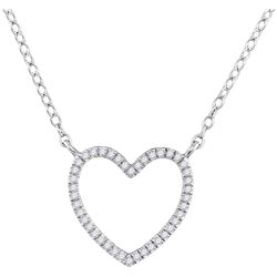 0.10 CTW Diamond Heart Love Pendant 10KT White Gold - REF-14X9Y