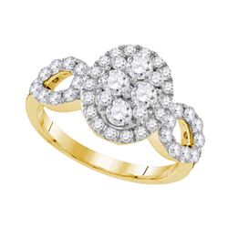 1.72 CTW Diamond Oval Cluster Ring 10KT Yellow Gold - REF-187N3F
