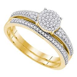 0.25 CTW Diamond Cluster Bridal Engagement Ring 10KT Yellow Gold - REF-31H4M