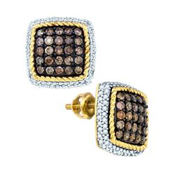 1.25 CTW Cognac-brown Color Diamond Square Rope Earrings 10KT Yellow Gold - REF-67F4N
