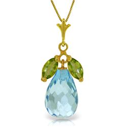 Genuine 7.2 ctw Blue Topaz & Peridot Necklace Jewelry 14KT Yellow Gold - REF-30P5H
