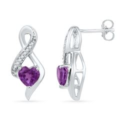 0.05 CTW Heart Created Amethyst Solitaire Infinity Stud Earrings 10KT White Gold - REF-14K9W