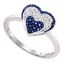 0.10 CTW Blue Color Diamond Small Heart Cluster Ring 10KT Yellow Gold - REF-18X2Y