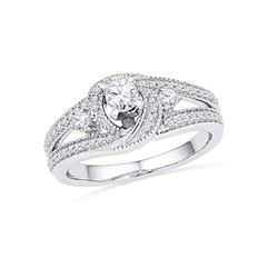 0.50 CTW Diamond Bridal Wedding Engagement Anniversary Ring 10KT White Gold - REF-52F4N