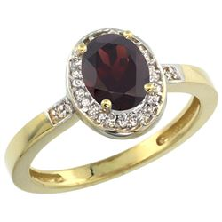 Natural 1.08 ctw Garnet & Diamond Engagement Ring 14K Yellow Gold - REF-31Z3Y