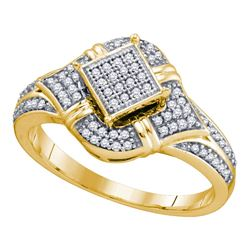 0.25 CTW Diamond Diagonal Square Cluster Ring 10KT Yellow Gold - REF-30X2Y