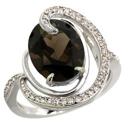 Natural 6.53 ctw smoky-topaz & Diamond Engagement Ring 14K White Gold - REF-72X8A
