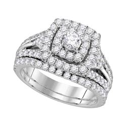 1.88 CTW Diamond Double Square Halo Bridal Ring 14KT White Gold - REF-172W4K