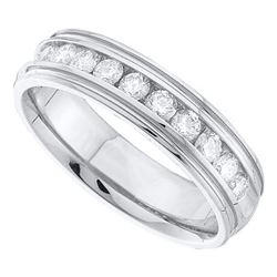 0.28 CTW Mens Diamond Wedding Ring 14KT White Gold - REF-56N2F