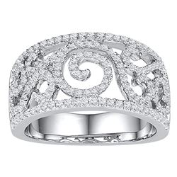 0.63 CTW Diamond Swirl Filigree Ring 10KT White Gold - REF-57X2Y