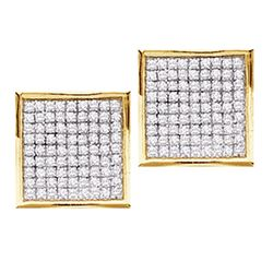 0.23 CTW Diamond Square Cluster Earrings 14KT Yellow Gold - REF-19M4H