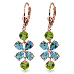 Genuine 5.32 ctw Blue Topaz & Peridot Earrings Jewelry 14KT Rose Gold - REF-50A3K