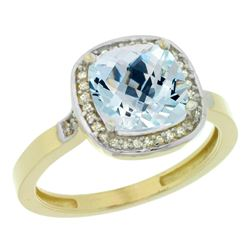 Natural 3.94 ctw Aquamarine & Diamond Engagement Ring 10K Yellow Gold - REF-52W2K
