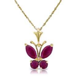Genuine 0.60 ctw Ruby Necklace Jewelry 14KT Yellow Gold - REF-25T3A