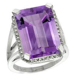 Natural 15.06 ctw amethyst & Diamond Engagement Ring 10K White Gold - REF-64F3N