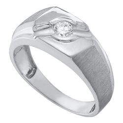 0.27 CTW Mens Diamond Solitaire Satin-finish Ring 10KT White Gold - REF-49N5F