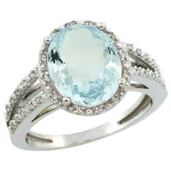 Natural 3.09 ctw Aquamarine & Diamond Engagement Ring 10K White Gold - REF-49Z2Y
