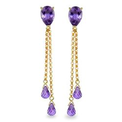 Genuine 7.5 ctw Amethyst Earrings Jewelry 14KT Yellow Gold - REF-39R3P