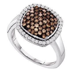 0.95 CTW Cognac-brown Color Diamond Square Cluster Ring 10KT White Gold - REF-33X8Y