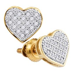 0.10 CTW Diamond Heart Stud Earrings 10KT Yellow Gold - REF-9N7F