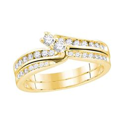 0.50 CTW Diamond 2-Stone Hearts Together Bridal Ring 14KT Yellow Gold - REF-71F3N