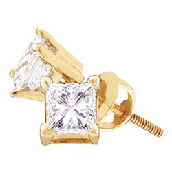 1.03 CTW Princess Diamond Solitaire Stud Earrings 14KT Yellow Gold - REF-142W4K