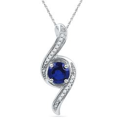 1.05 CTW Created Blue Sapphire Solitaire Diamond Pendant 10KT White Gold - REF-14M9H
