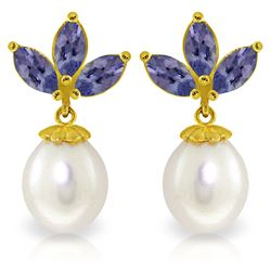 Genuine 9.5 ctw Tanzanite & Pearl Earrings Jewelry 14KT Yellow Gold - REF-43V4W