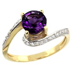 Natural 0.99 ctw amethyst & Diamond Engagement Ring 14K Yellow Gold - REF-52V2F