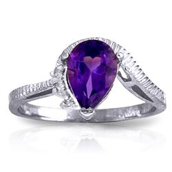 Genuine 1.52 ctw Amethyst & Diamond Ring Jewelry 14KT White Gold - REF-51N4R