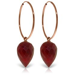 Genuine 26.1 ctw Ruby Earrings Jewelry 14KT Rose Gold - REF-36P9H