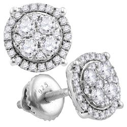 1.04 CTW Diamond Circle Cluster Earrings 10KT White Gold - REF-82X4Y
