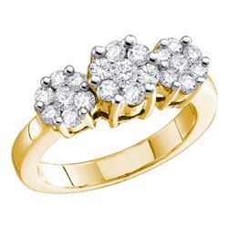 2 CTW Diamond Triple Cluster Ring 14KT Yellow Gold - REF-236W3K