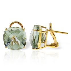 Genuine 7.2 ctw Green Amethyst Earrings Jewelry 14KT Yellow Gold - REF-46M5T