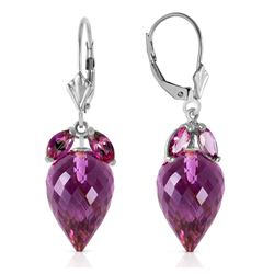 Genuine 20 ctw Amethyst Earrings Jewelry 14KT White Gold - REF-51N8R