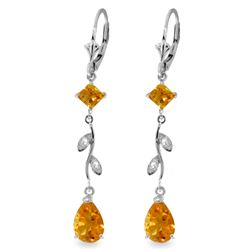 Genuine 3.97 ctw Citrine & Diamond Earrings Jewelry 14KT White Gold - REF-44P9H