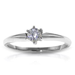 Genuine 0.15 ctw Diamond Anniversary Ring Jewelry 14KT White Gold - REF-76K2V
