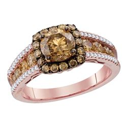 2.24 CTW Cognac-brown Color Diamond Solitaire Bridal Ring 14KT Rose Gold - REF-299K9W